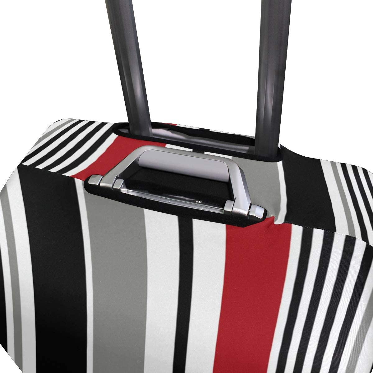 Travel Luggage Cover Black Stripe Red White Grey Vertical Suitcase Protector