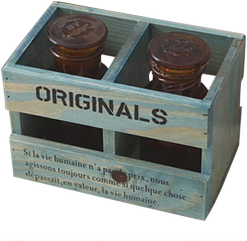 Creativa 2-slot madera portadocumentos, madera de la vendimia Haoun caja de almacenaje para escritorio PenPencilClipsNote PadsStationeryCell PhoneCosmrticMake-up: Amazon.es: Bricolaje y herramientas