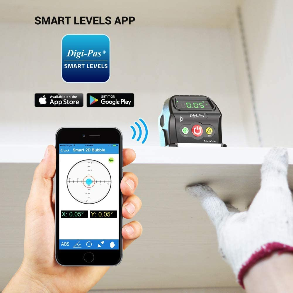 Model: DWL90Pro black Digi-Pas 2-Axis Smart Cube Level DWL-90PRO WIRELESSLY displays leveling status on smartphone via BLUETOOTH Small