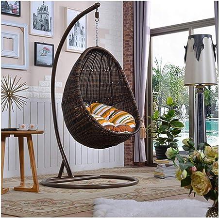 LEJZH Silla Colgante de ratán, Silla de Canasta de Huevos Que Incluye Cojines, Muebles de jardín para Exteriores e Interiores,Marrón: Amazon.es: Hogar