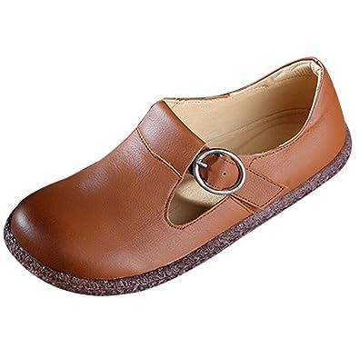 Vogstyle Damen Frühjahr/Sommer Lederband Schnallen Handgemachte Flache Schuhe Violett 39 VtDMU8la0Q