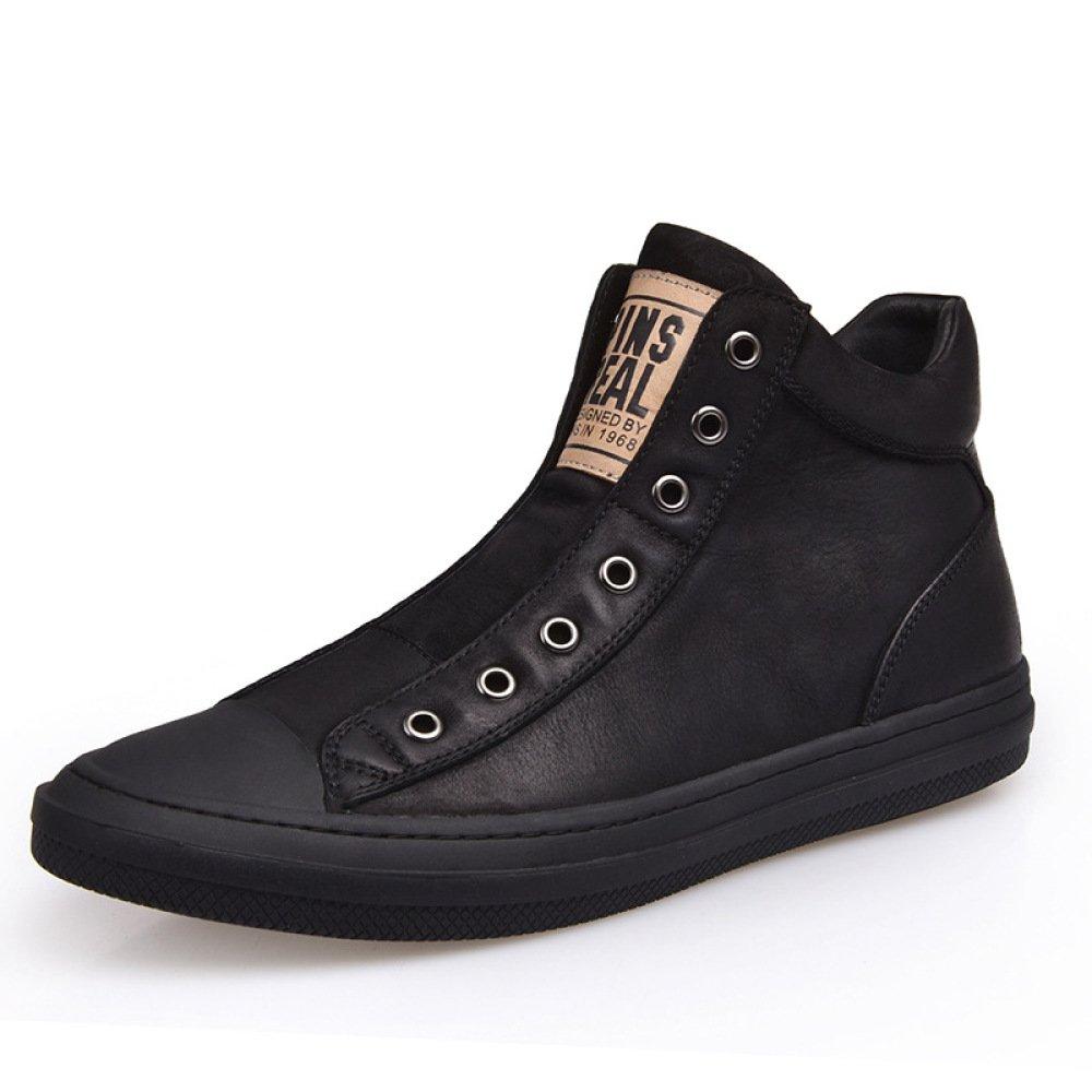 DHFUD Herrenschuhe Hohe Schuhe Schuhe Freizeitschuhe Leder Winter Warme Baumwollschuhe