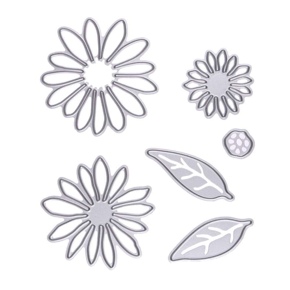JD Million shop 6Pcs/set Chrysant Flower with Leaves Metal Die cutting Dies For DIY Scrapbooking Photo Album Decorative Embossing Folder