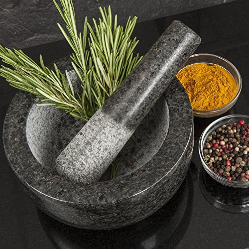 Homiu Granite Pestle and Mortar Bowl Set Premium Solid and Durable Natural Spice Herb Crusher Grinder Grinding Paste Large 6.1 inches Diameter