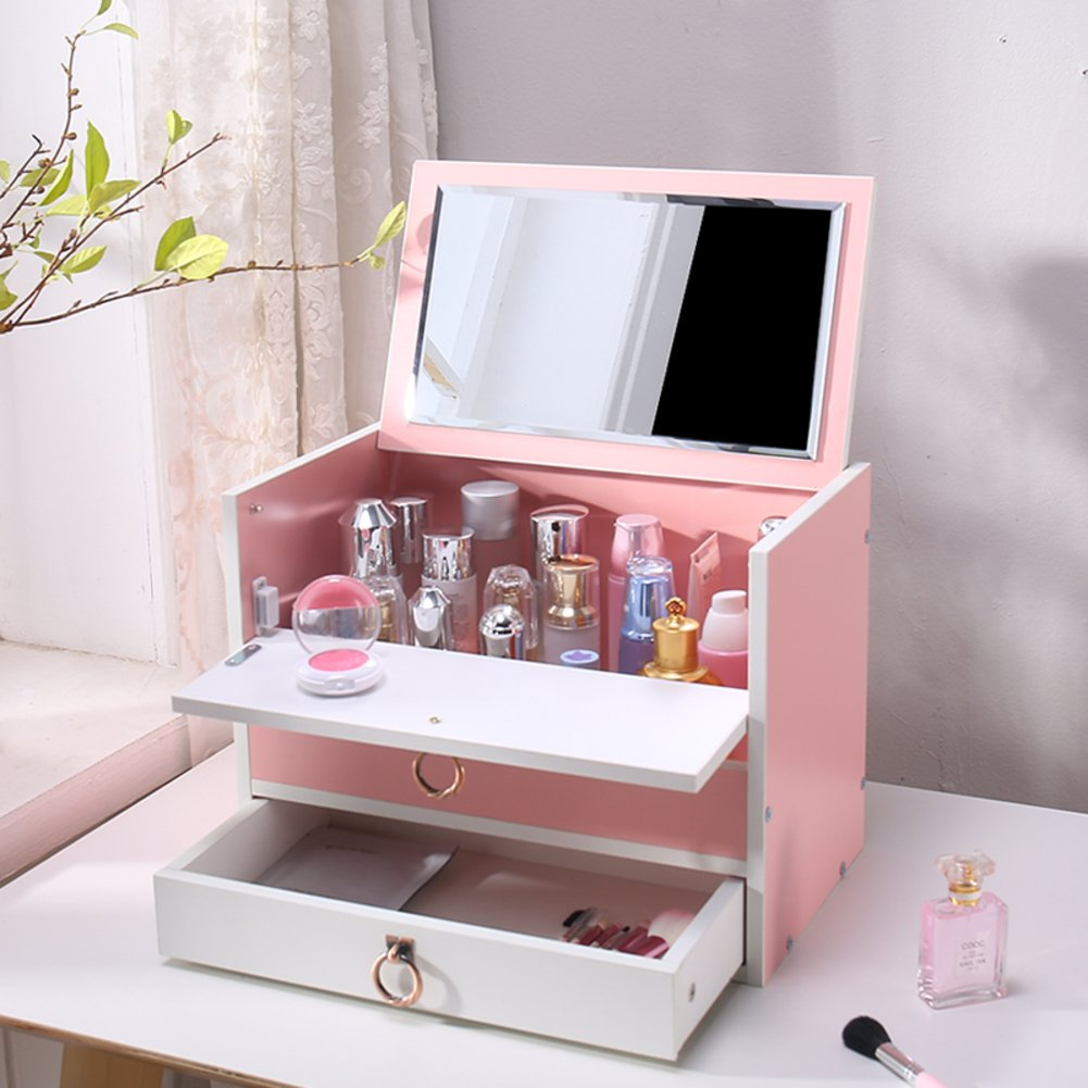 Amazon.com: Rart DIY Makeup Storage Box,Multi-Layer Drawer Storage Boxes Wooden Desk Organiser Jewellery Box with Mirror-Keeping Your Dressing Table More ...