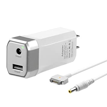 45W Mini Charger for MacBook Air 11 13 inch, Compatible with Magsafe 2 T-Tip Power Adapter MAC (2012,2013,2014,2015,2017) -One Extra USB Port