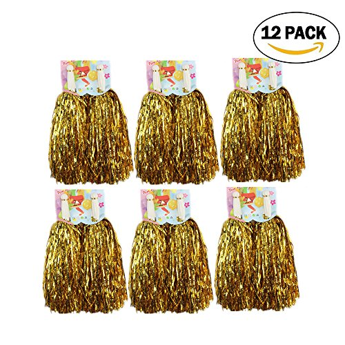 1 Dozen Cheerleading Pom Poms, CRIVERS 12pc Cheerleader Pompoms for Ball Dance Fancy Dress Night Party Sports (Gold) (Gold Cheerleader Football)