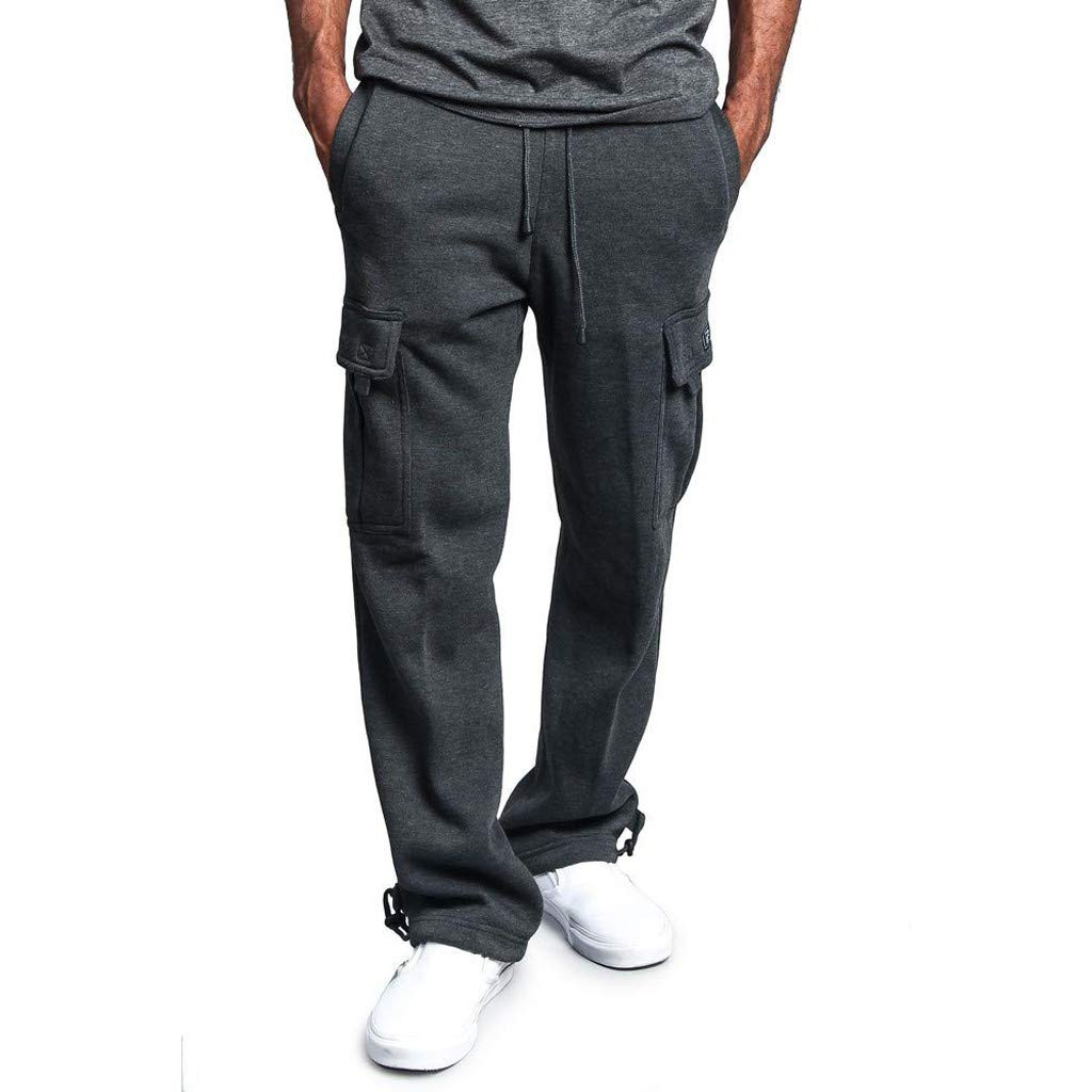 WUAI Sweatpants for Men, Casual Outdoors Slim Fit Joggers Running Sportwear Athletic Pants Trousers(Dark Grey,US Size S = Tag M)