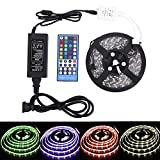 DC 12 V LED Strip Lights Kit 5050 RGBW 16.4FT 5M 300LED IP65 Waterproof With 40Keys IR Remote Controller and 5A Power Supply for Christmas Party Home Decoration(RGBWW Kit)