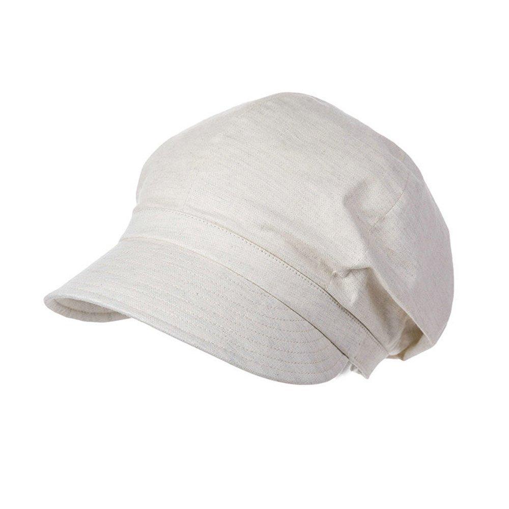 Siggi 100% Cotton Newsboy Cabbie Beret Cap for Women Cloche Visor Summer Hat Beige