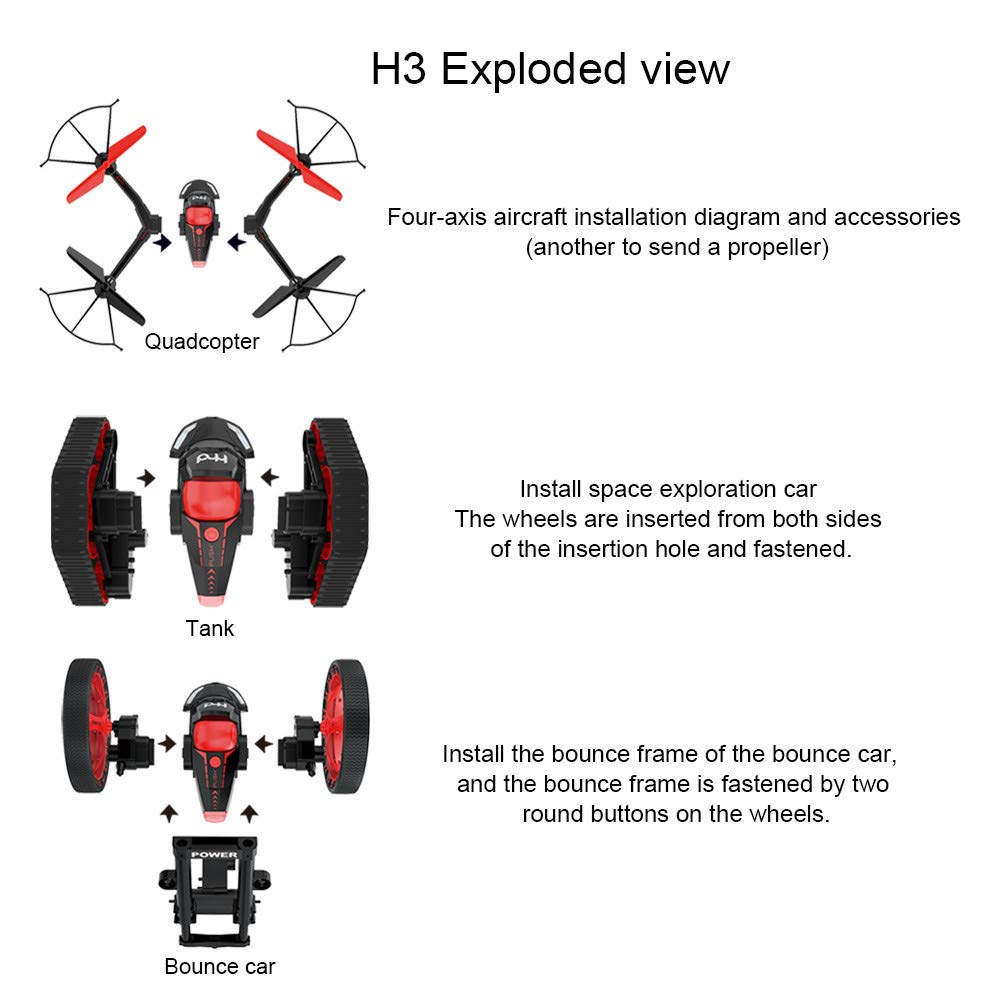 FPV Drone with Camera WiFi, RC Quadcopter 2.4G 6 Axis-Remote Control with Altitude Hold, Headless, Route Setting, One-Key Take-Off/Landing land-air-jump 3Mode Assemble Deformation (2.4G, Black) by S.H.EEE (Image #2)