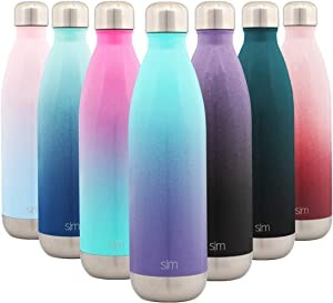 Simple Modern 25 Ounce Wave Water Bottle - Stainless Steel Double Wall Vacuum Insulated Metal Reusable - Leakproof Ombre: Tropical Seas