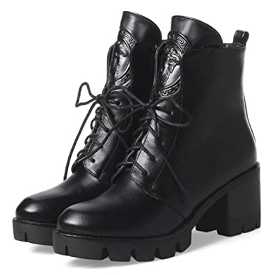 670e73d79bdc QZUnique Women Lace Up Round Toe Exquisite Square Chunky Heel Ankle Booties  PU Surface Martin Boots