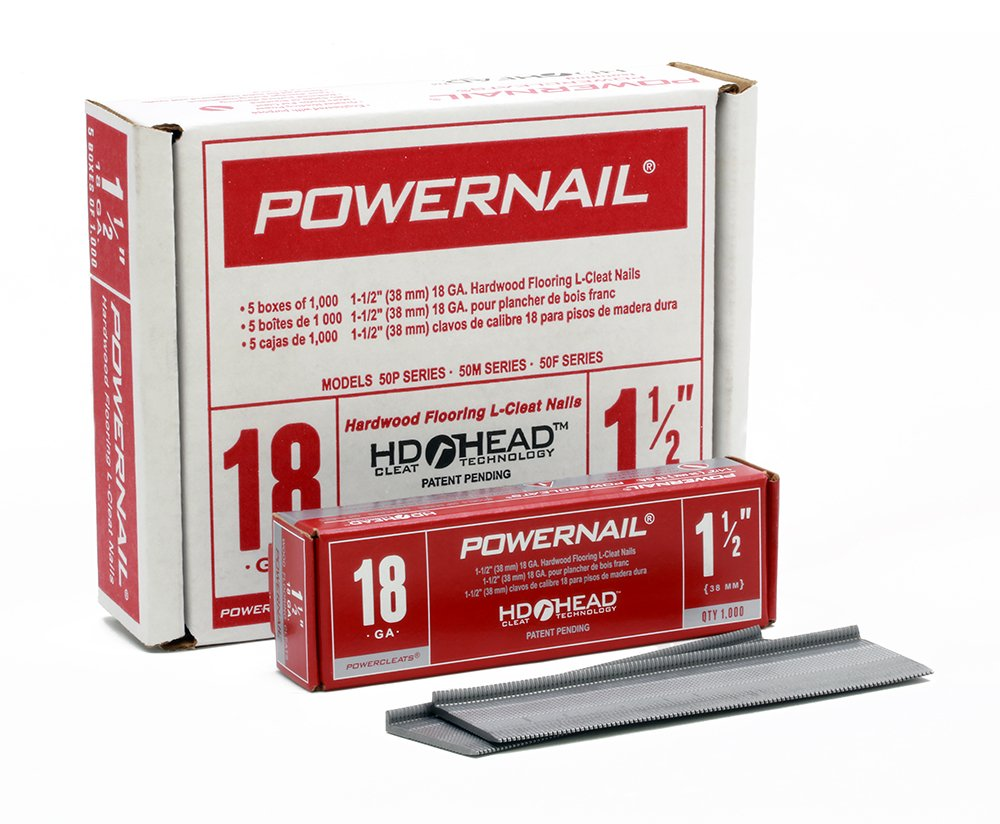 Powernail 18ga 1-1/2'' L-Style PowerCleats(Case of 5-1000ct boxes)