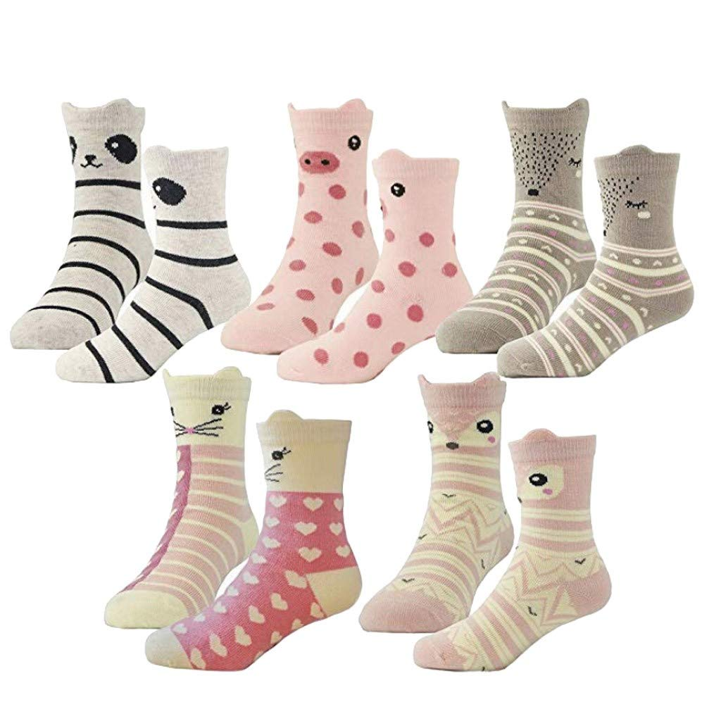 Kids Girls Fashion Cotton Crew Seamless Toddler Socks 5 Pairs