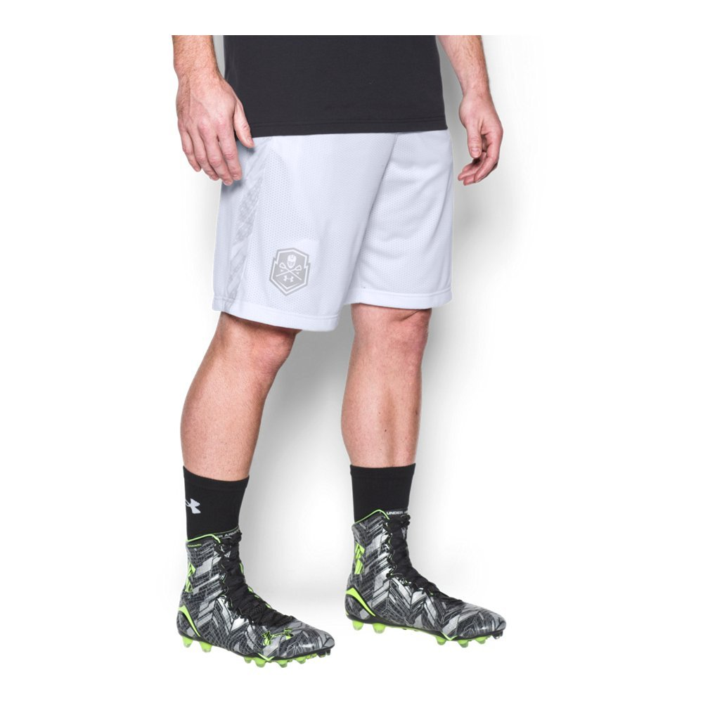Under Armour Men's Lax Tech Mesh Shorts, White (100)/White, Large