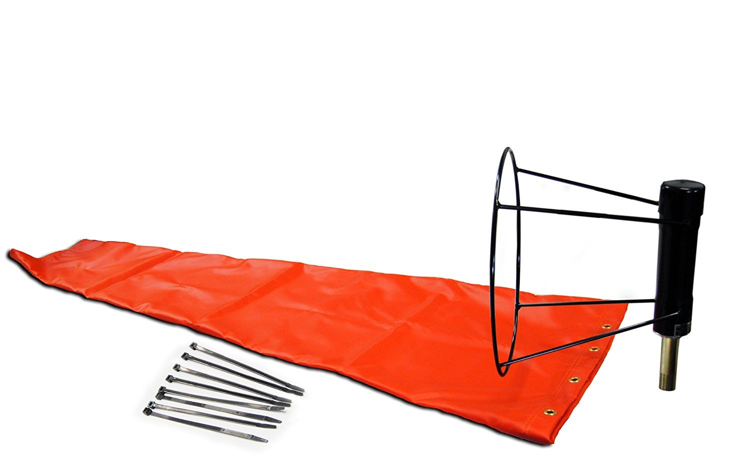 Airport Windsock Corporation 13'' X 54'' Orange Windsock and 13'' Ball Bearing Frame USA Made
