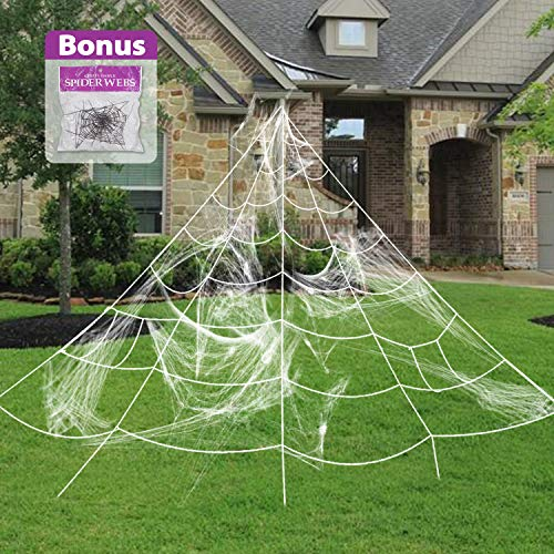 (Pawliss Giant Spider Web with Super Stretch Cobweb Set, Halloween Decor Decorations Outdoor Yard, White, 16)