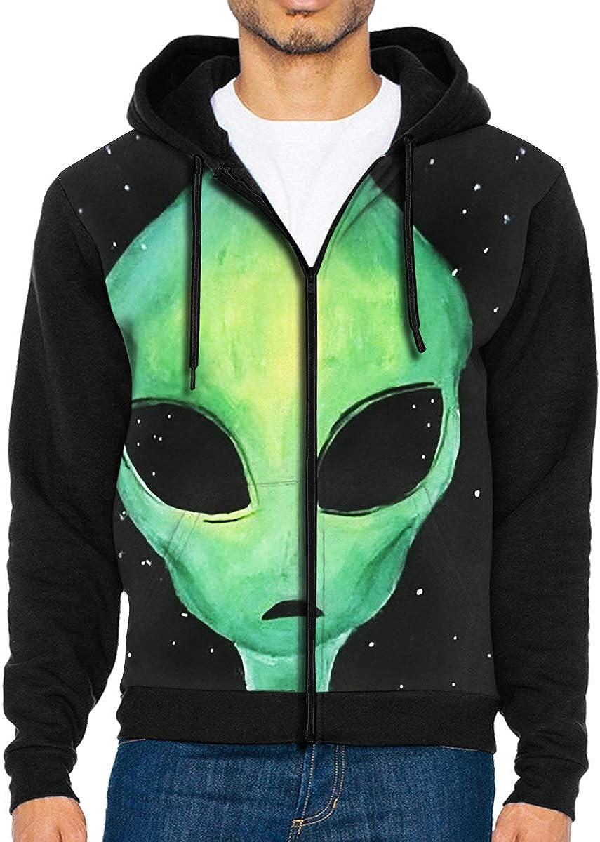 HEHE TAN Mens Pullover Hood Green Alien Face Shape Zip Hoodies Hooded Cool Jackets Coats