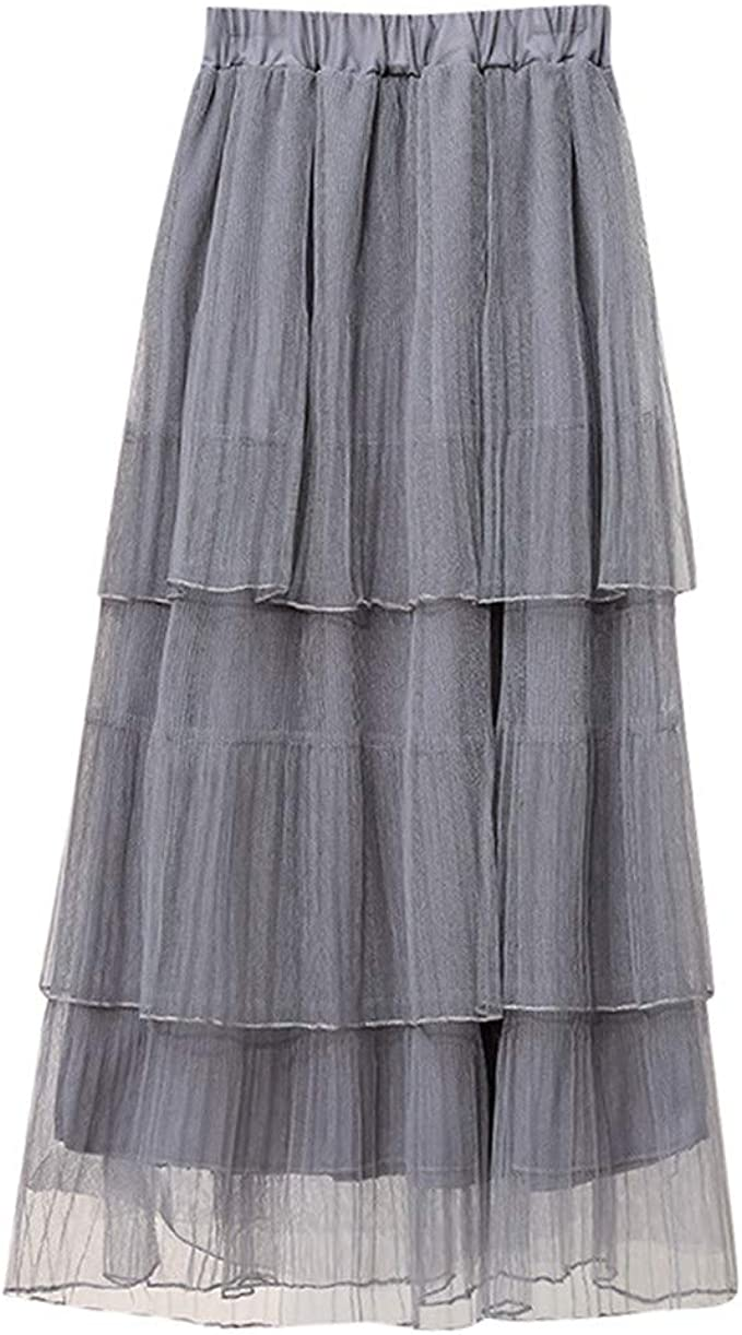 DressLksnf Falda Largas Mujer Verano Color Sólido Falda de Pastel ...
