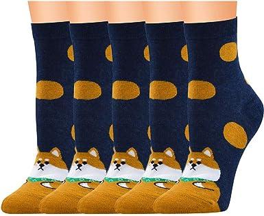 MYONA Pack de 5 Calcetines de Algodón Dibujos Animados, Hombre Mujer Calcetines de Divertidos Ocasionales con Estampados de Gato Colores Regalos de Cumpleaños Unisex: Amazon.es: Ropa y accesorios