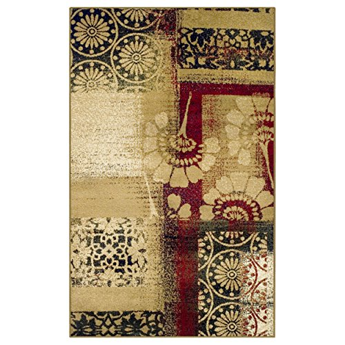 Superior Patchwork Collection Area Rug, Floral and Geometric Patchwork Design, 10mm Pile Height with Jute Backing, Affordable Contemporary Rugs - 8' x 10' Rug (Geometric Floral Rug)