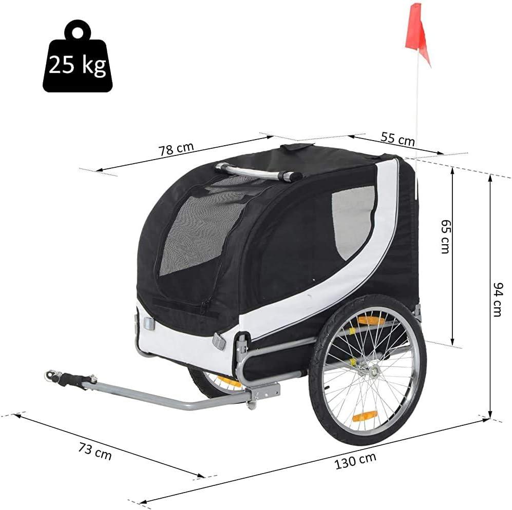 SGRMYS Pieghevole rimorchio Bicicletta Vettore Cane da Compagnia per Viaggiare Jogging Bici,Blackwhite