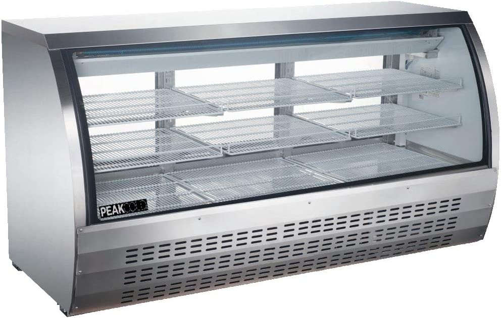 """Peak Cold Curved Glass Refrigerated Deli Case - Meat or Seafood Display Showcase, Stainless Steel; 82"""" Wide"""