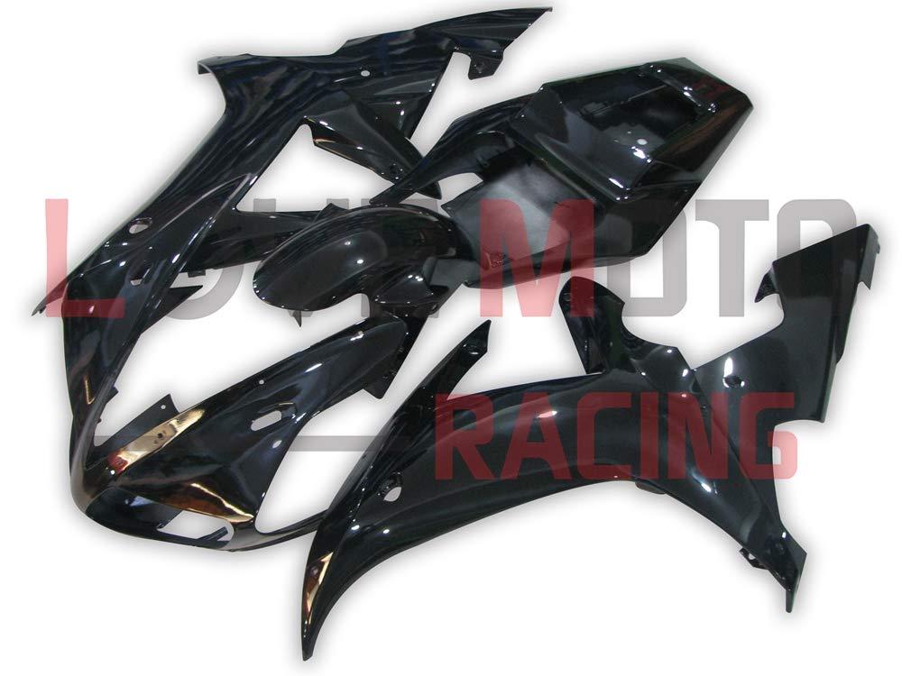 LoveMoto ブルー/イエローフェアリング ヤマハ yamaha YZF-1000 R1 2002 2003 02 03 YZF 1000 ABS射出成型プラスチックオートバイフェアリングセットのキット ブラック   B07KKFM5L1