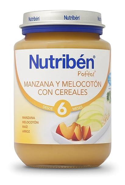 Nutribén Potito Manzana y Melocotón con Cereales - 200 gr