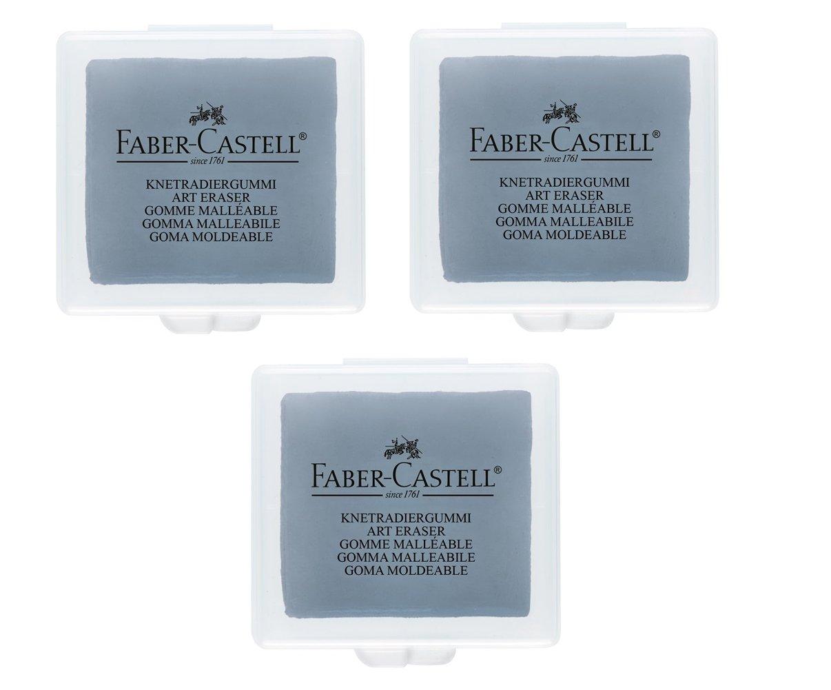FABER-CASTELL Lot de 3 Gommes mod/élable Mie de Pain ART ERASER 7020 Gris