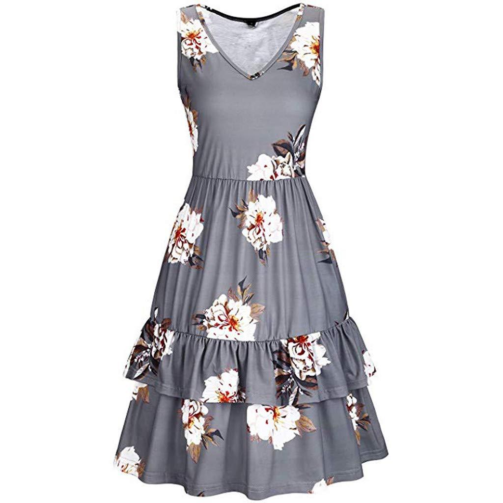 Womens Beach Sleeveless Layered Ruffle Hem Swing Dress JQjian Summer V-Neck Floral Printed Sundress