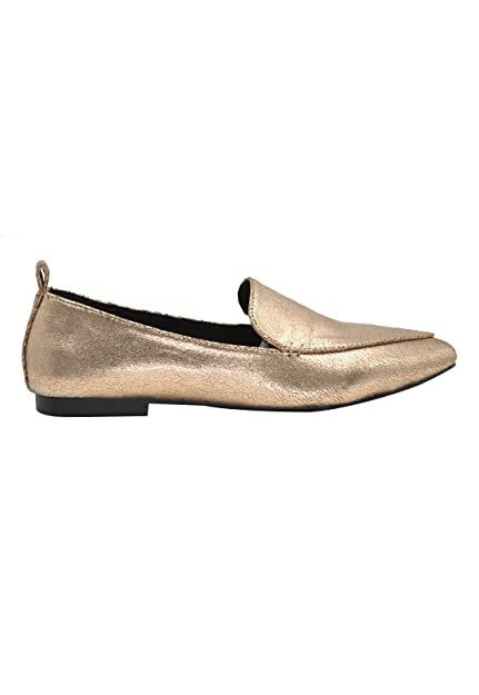GottaBe Womens Gold Rose Classic Flat Leather Shoes - Comfortable Closed  Toe Ballet (9) c81bbe5df