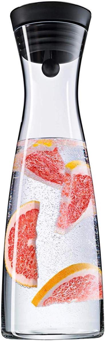 WMF Basic - Botella de agua de cristal, sistema Close Up, altura 32,7 cm, anchura 11,3 cm, 1,5 litros capacidad, sin accesorios, color negro