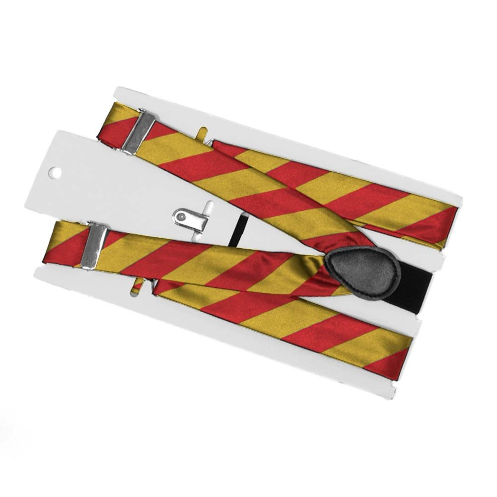 TieMart Red and Gold Striped Suspenders