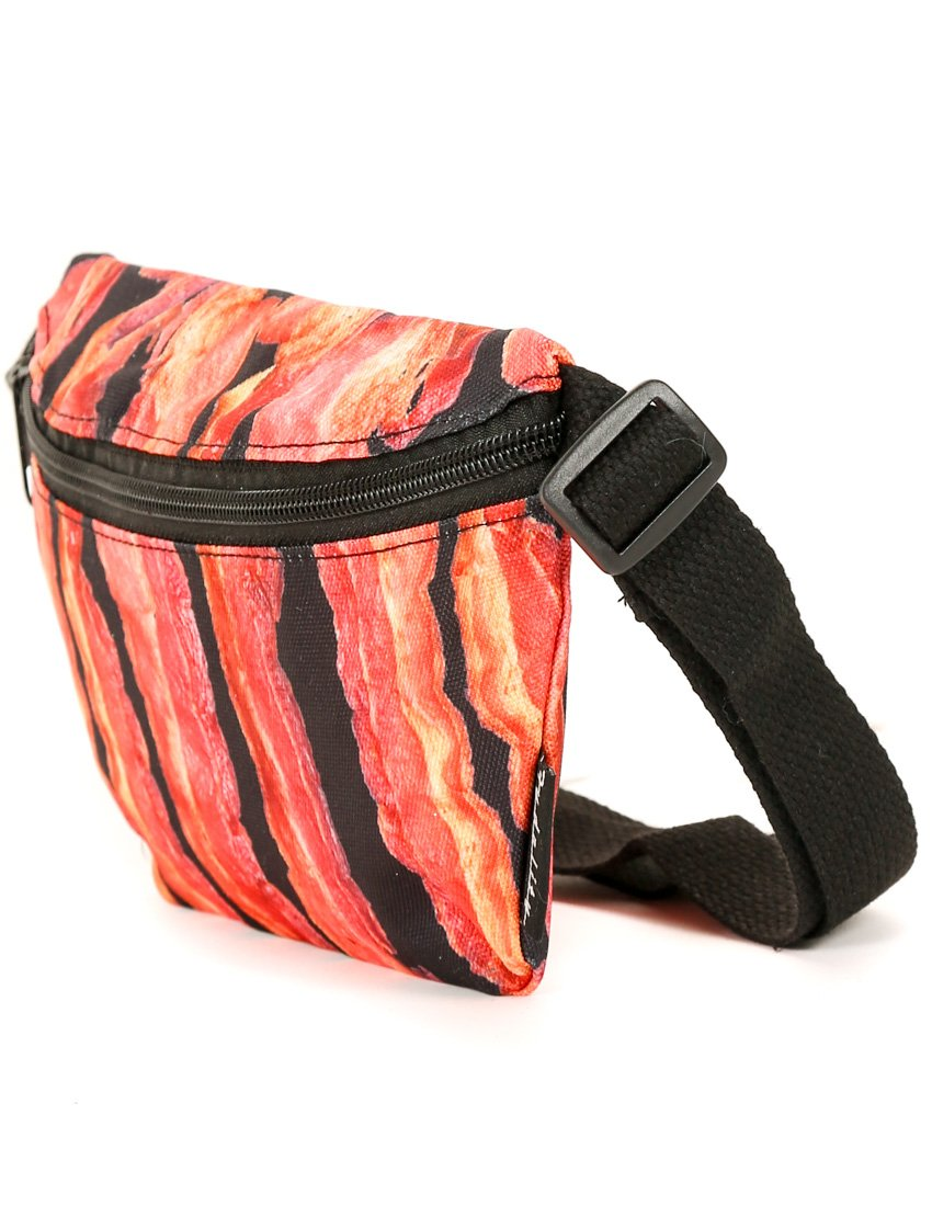FYDELITY- Ultra-Slim Fanny Pack: BACON   Cheese, Pepperoni, Mushroom, Greasy, NY, Pie, Slices, Thin Crust