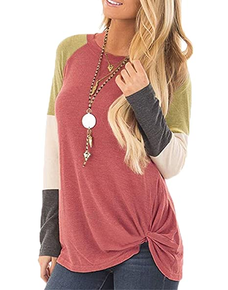 c29b69b8f9 INWECH Women's Casual Crew Neck Front Knotted Color Block T Shirt Blouse  Long Sleeve Autumn Tops Tees at Amazon Women's Clothing store: