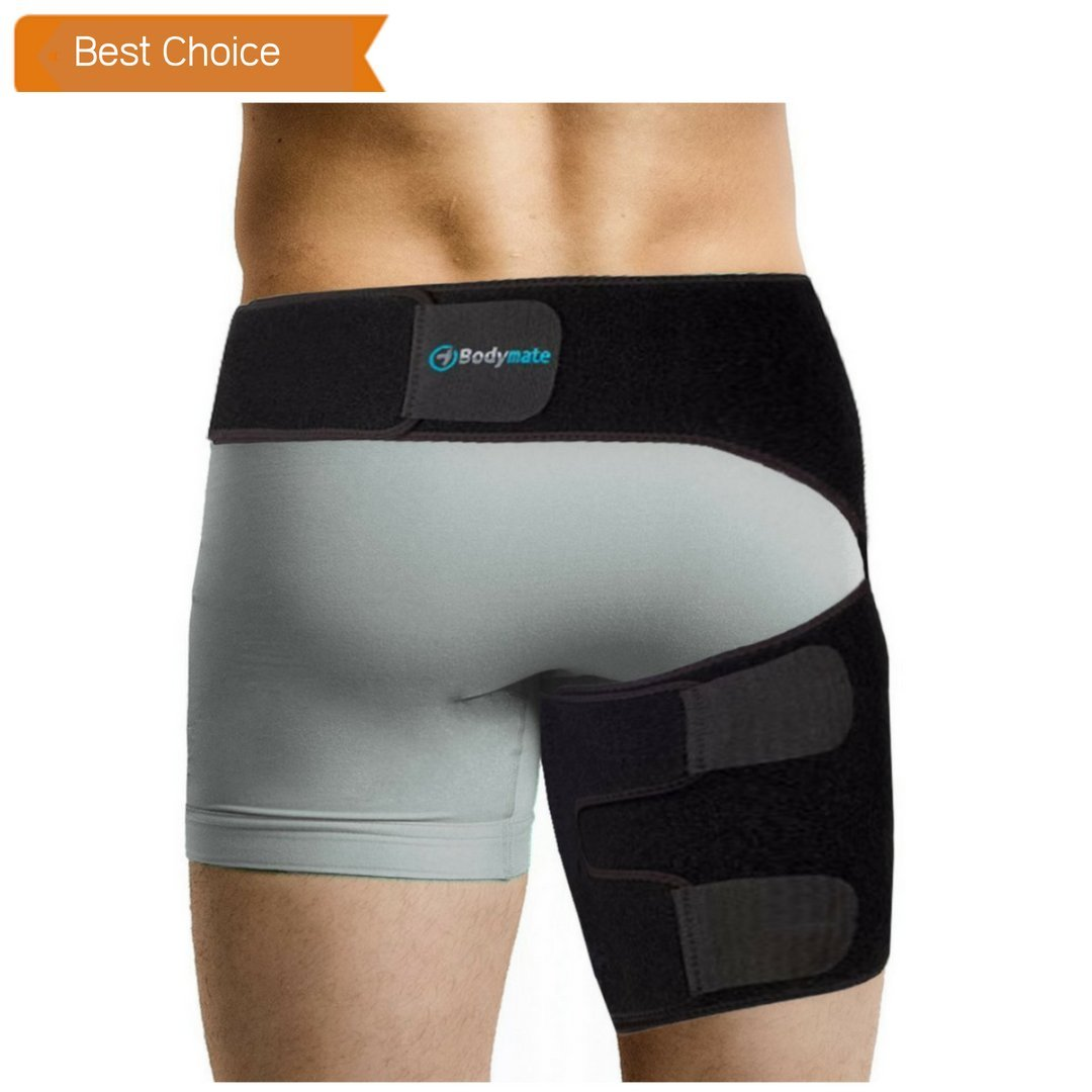 Bodymate® Compression Brace for Hip, Sciatica Nerve Pain Relief Thigh Hamstring, Quadriceps, Joints, Arthritis, Groin Wrap for Pulled Muscles, Hip Strap, Sciatica brace/SI belt for Men, Women by Bodymate