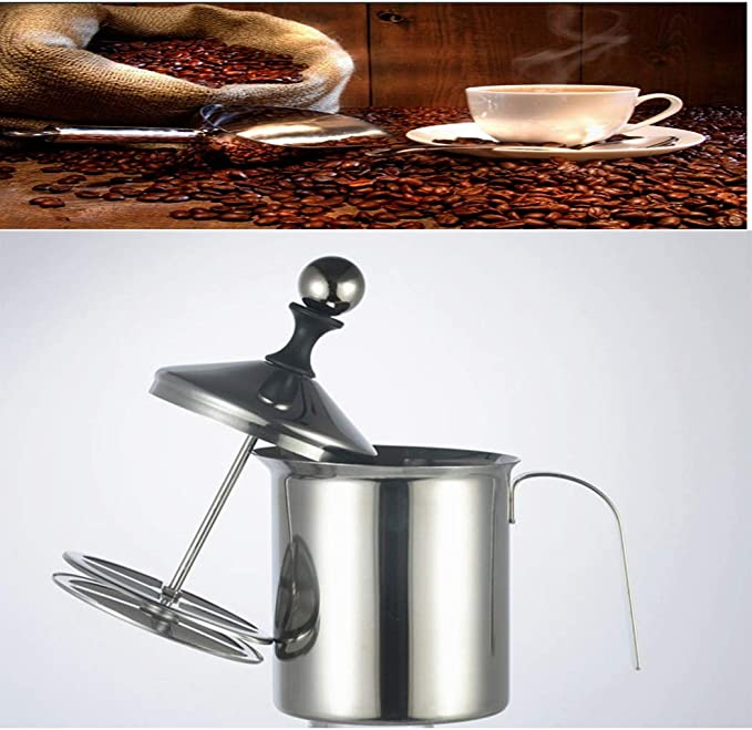 Jarra espumadora de leche de mano de acero inoxidable de 800 ml con doble malla para hacer capuchinos y batidos perfectos