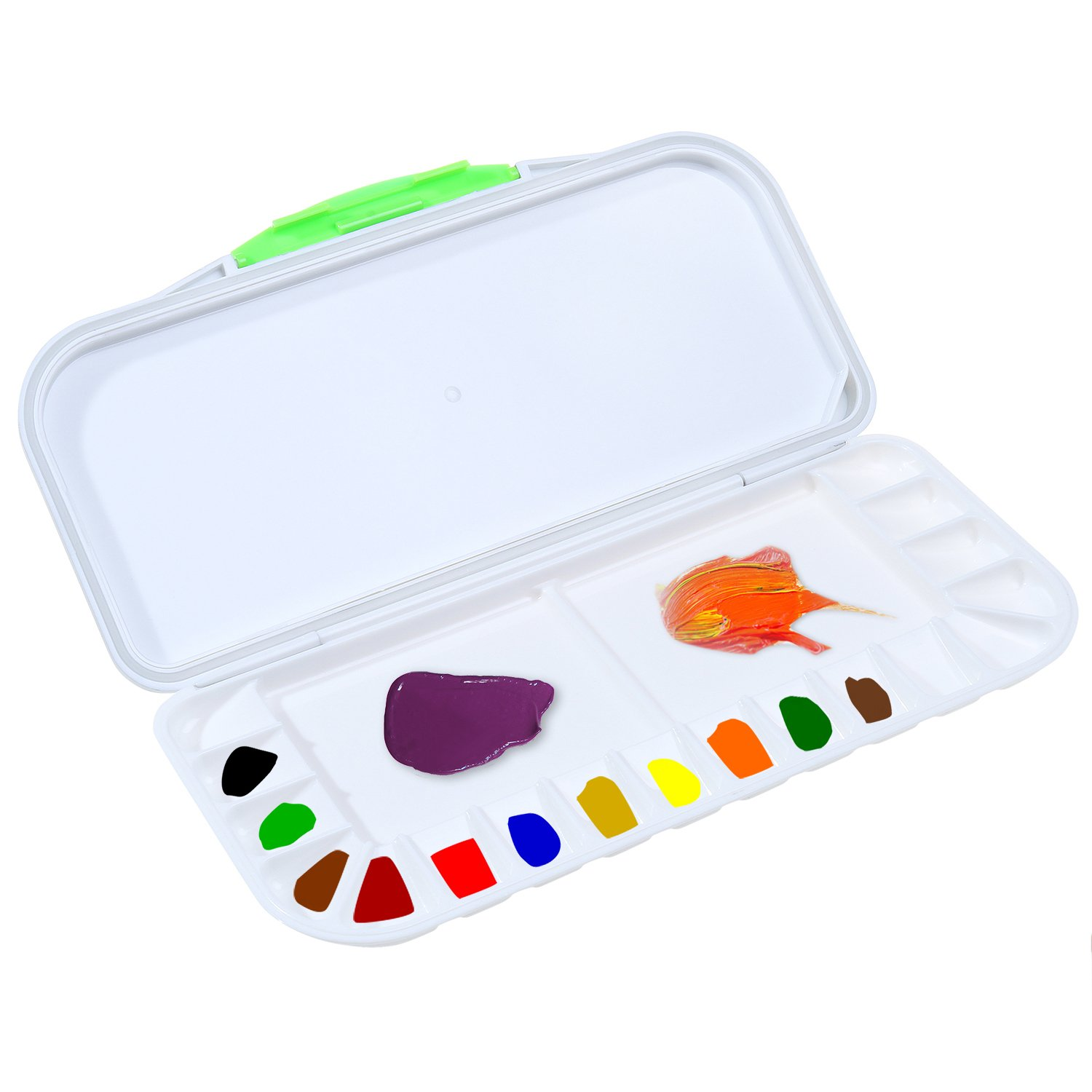 Traveling Airtight Watercolor Palette 18 Wells Watercolor Acrylic Paint Tray Palette Leak Proof for Watercolor Pigment Storage Color Mixing (10.63 x 5.1 x 0.9 inch)
