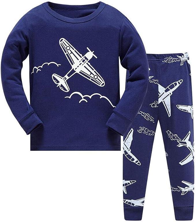DAWILS Pijama para Niños Avión Cohete Transbordador Espacial Astronauta Astronave Universo Espacio Astronave Luna Pijamas de Manga Larga para niños ...
