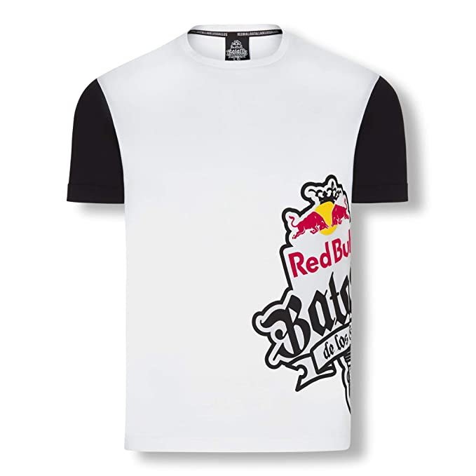 Red Bull Batalla Sideprint Camiseta, Blanco Hombre Top, Batalla de los Gallos Freestyle Hip Hop Competition Clothing