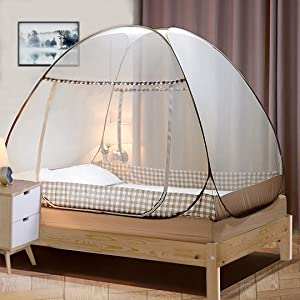 Tinyuet Mosquito Net, 47.2x78.7in Bed Canopy, Portable Travel Mosquito Net, Foldable Double Door Mosquito Net for Bed, Easy Dome Mosquito Nets - Brown Rim