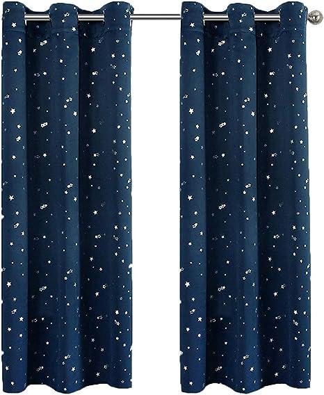 Lot de 2 Rideaux /à Oeillets Enfant Renard ours Rideau Isolant Thermique Occultant Imprim/é Polyester Draperies pour Chambre denfant Salon Chambre de Fen/être D/écoration 70x160cm