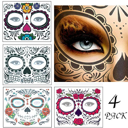 4 Pack Face Tattoo for Sugar Skull,Day of Dead Face Tattoos, Skeleton Face Tattoo with Rose Temporary Face Tattoos Kit for Women Men