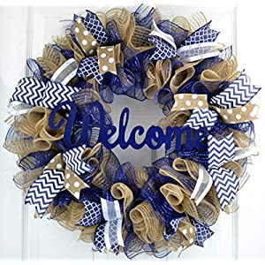 Navy Blue Welcome Wreath | Burlap Decor | Mother's Everyday Christmas Gift | Bridal Shower Present 69