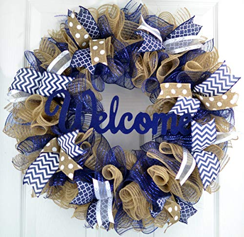 Navy Blue Welcome Wreath   Burlap Decor   Mother's Everyday Christmas Gift   Bridal Shower Present (Wreaths Christmas Mesh)