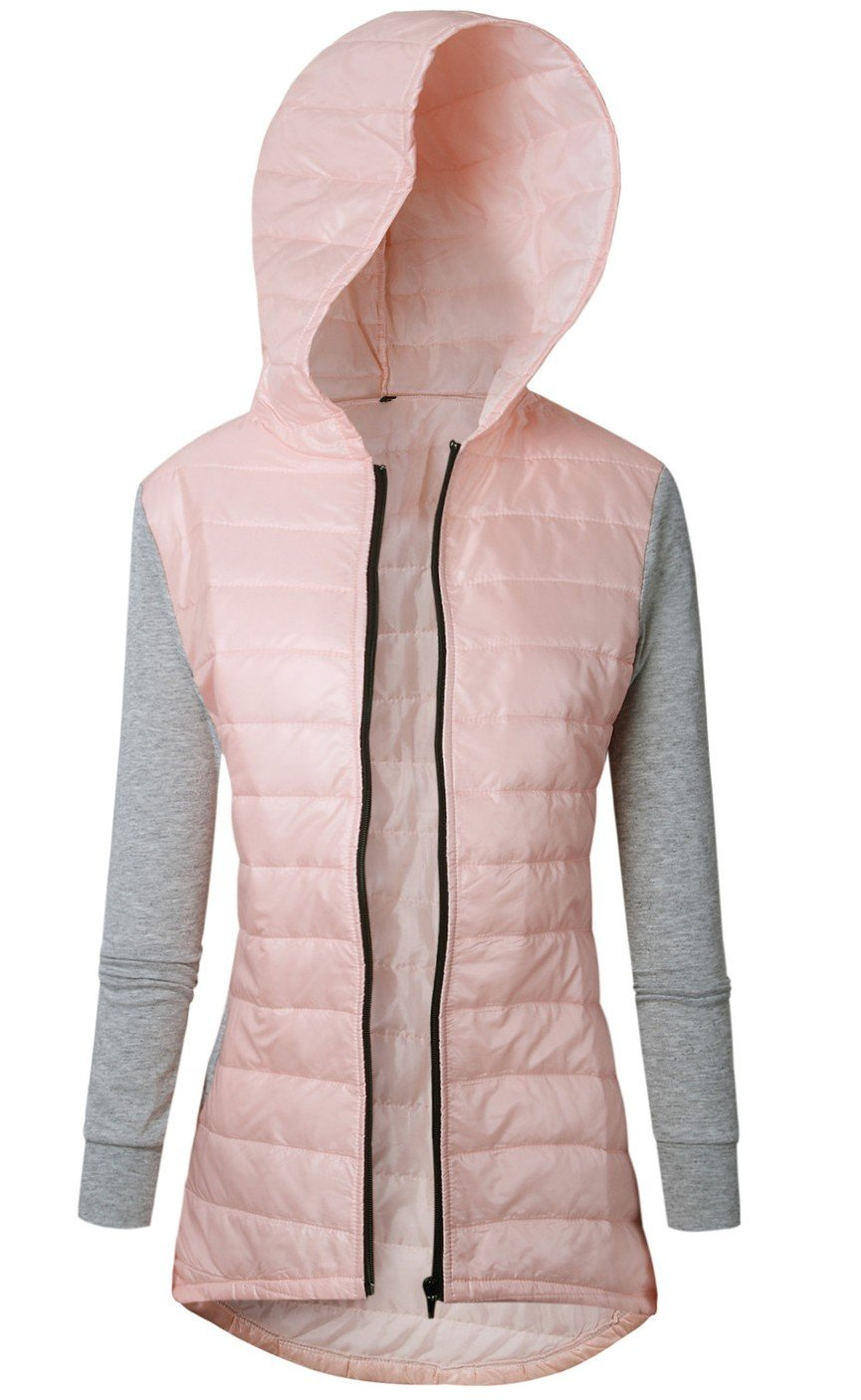 Hood Hooded Hoodie Zippered Zipper Front Zip Up Warm Padded Quilted Puffer Patchwork High Low Hem Jacket Coat Top Pink S