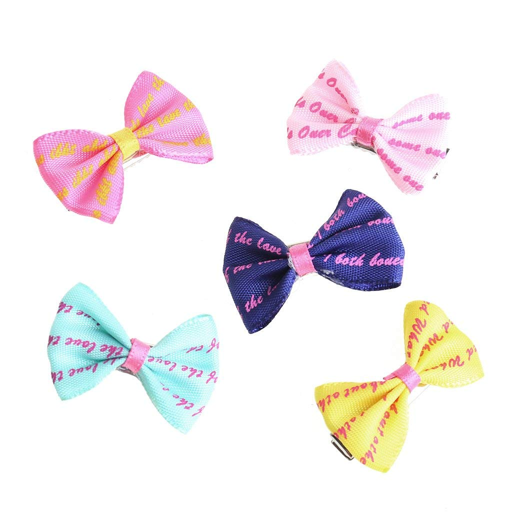 5pcs Beauty Pet Grooming Accessories Colourful Cat Dog Hair Bows Hair Clips Premium Quality by Yevison