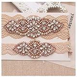 Yanstar Bridal Garter Champange Stretch Lace Bridal Garter Sets With Rose Gold Rhinestones For Wedding